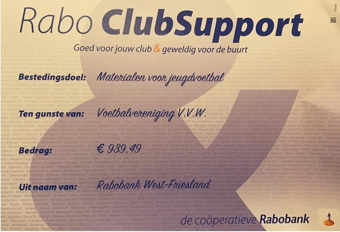 Rabo Clubsupportactie afgelopen.